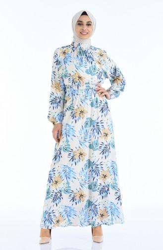 Gerafftes gemustertes Kleid 1046N-01 Beige Blau 1046N-01