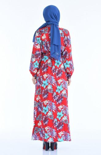 Robe a Motifs Taille Froncée 1046N-02 Rouge Bleu 1046N-02