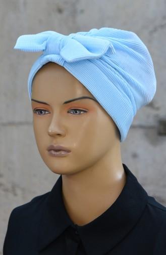 Bonnet Plissé avec Noeud 1045-01 Bleu Bébé 1045-01