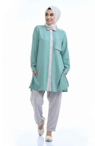 Tensel Kumaş Tunik Pantolon İkili Takım 6353-03 Çağla Yeşili Bej