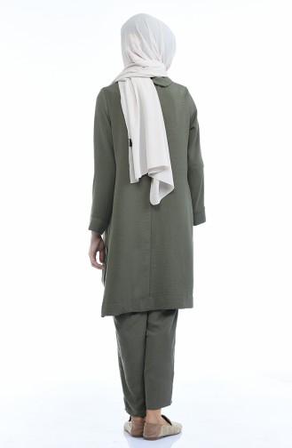 Brooch Tunic Pants Double Suit 6573-05 Khaki 6573-05