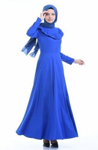 Robe Détail Froufrous 7203-15 Bleu Roi 7203-15