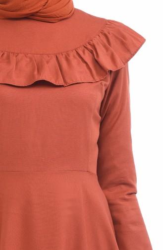 Robe Détail Froufrous 7203-16 Brique 7203-16