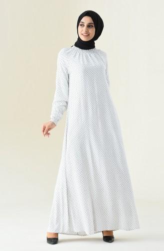 Polka Dot Kleid mit Gummi 8347-02 Weiss 8347-02