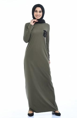 Khaki İslamitische Jurk 0501-06