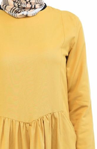 Robe Froncée avec Poches 3092-11 Jaune 3092-11