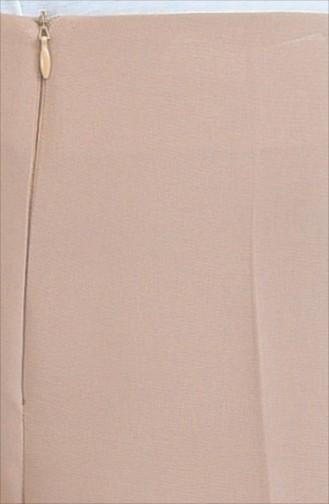Gizli Fermuarlı Bol Paça Pantolon 0893-03 Vizon