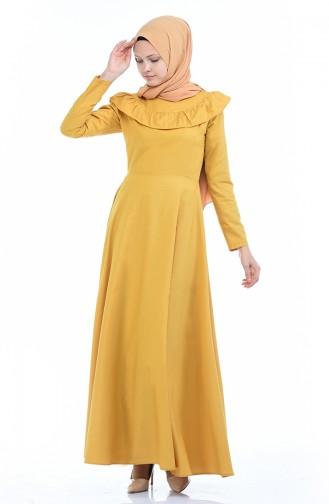 Fırfır Detaylı Elbise 7203-14 Sarı