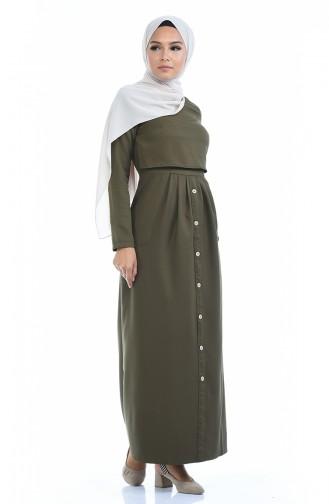 Robe Détail Boutons 4275-09 Vert Khaki 4275-09