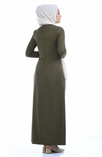 Knopf detailliertes Kleid 4275-09 Khaki Grün 4275-09
