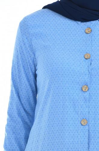 Düğmeli Pamuklu Elbise 1227-03 Bebe Mavisi
