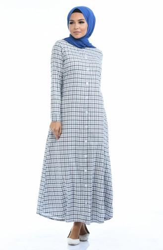 Geknöpftes Kleid  1267-03 Schwarz Weiss 1267-03