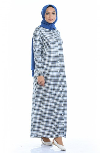 Robe a Carreaux 1269-02 Bleu Brun 1269-02