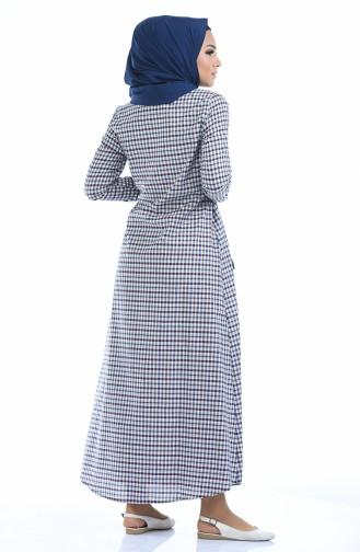 Kariertes Kleid 1269-05 Weinrot Creme 1269-05