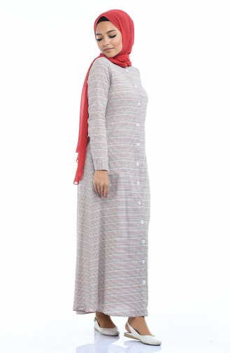Kleid mit Gürtel 1270A-01 Rot Creme 1270A-01