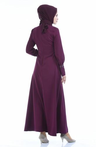 Geknöpftes Plissee Kleid 9466-01 Zwetschge 9466-01