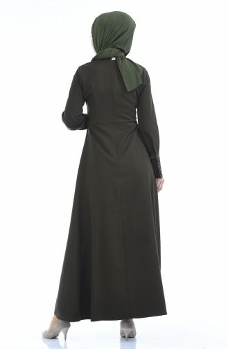 Geknöpftes Plissee Kleid 9466-02 Khaki 9466-02