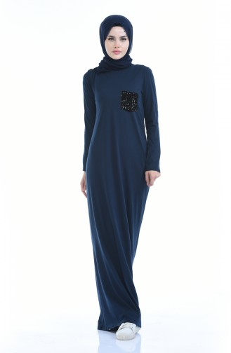 Düz Penye Elbise 0501-01 Lacivert