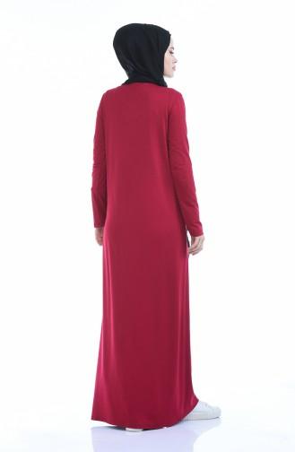 Düz Penye Elbise 0501-02 Bordo