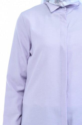 Gizli Düğmeli Tunik 2051-08 Lila