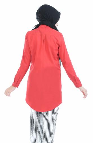 Gizli Düğmeli Tunik 2051-10 Kırmızı