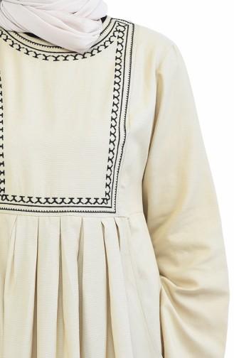 Robe Plissée et Bordée avec Poches 2916-13 Beige 2916-13