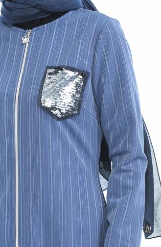 Pailletten Detailliertes Abaya mit Reissverschluss 1959-03 Blau 1959-03