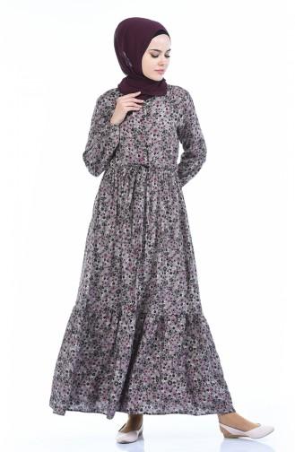 Gemustertes Kleid mit Band  0010D-01 Nerz Zwetschge 0010D-01