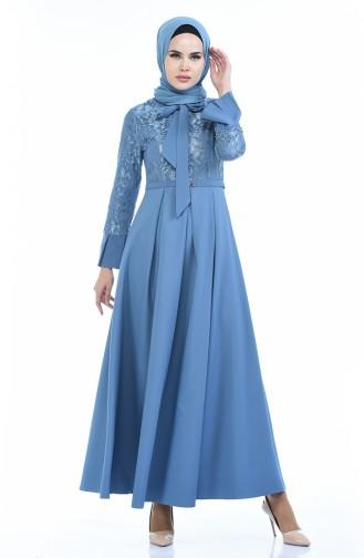 Lace Pearl Dress 9439-01 Indigo 9439-01