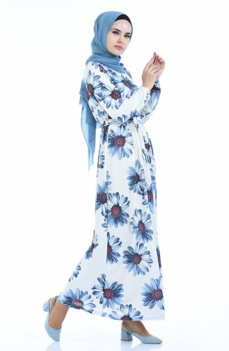 Kleid mit Gummi 4791H-01 Blau 4791H-01