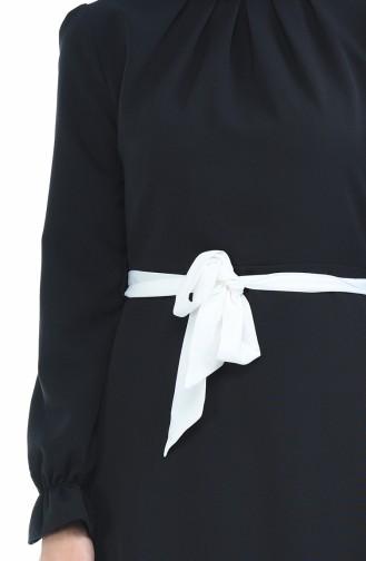 Robe a Ceinture Manches élastique 60038-02 Noir 60038-02