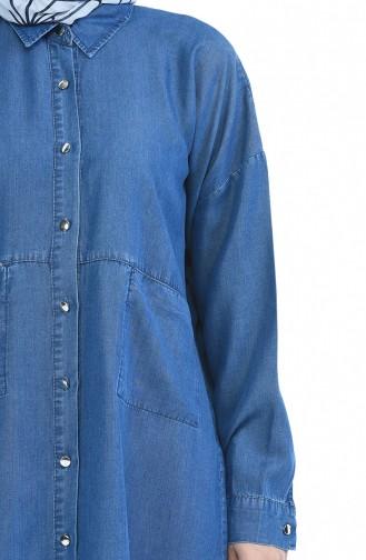 Longue Tunique Tensel avec Poches 6240-06 Bleu Jean 6240-06