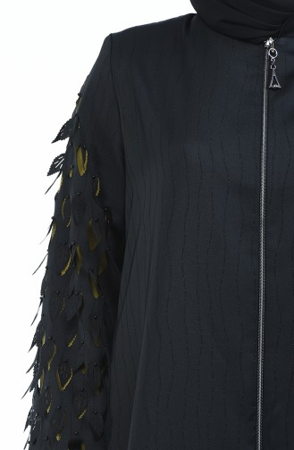 Abaya Coupe Laser Grande Taille 3022-04 Noir Vert Huile 3022-04