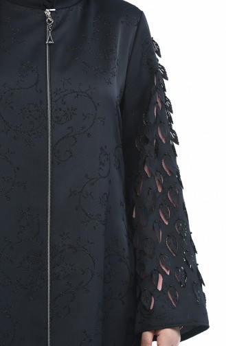 Büyük Beden Lazer Kesim Ferace 3022A-01 Siyah Pudra 3022A-01