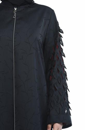 Abaya Coupe Laser Grande Taille 3022B-02 Noir Brique 3022B-02