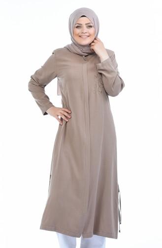 Abaya Tensel a Fermeture Grande Taille 0365-04 Vison 0365-04