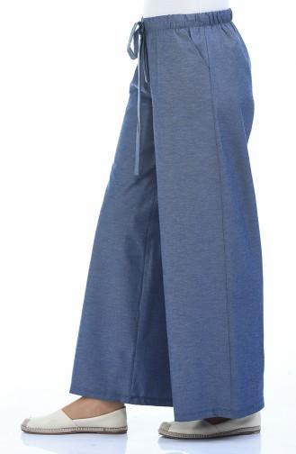 Pantalon élastique Large 0253-01 Bleu marine 0253-01