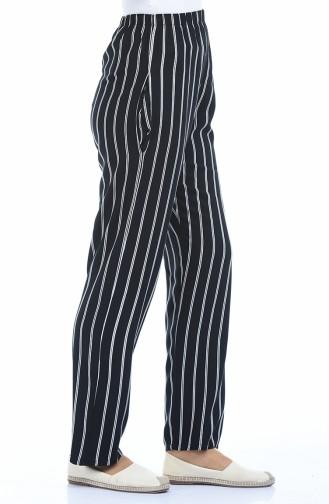 Pantalon Large a Rayures 1051-01 Noir 1051-01