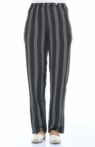 Pantalon Large a Rayures 1051B-02 Noir 1051B-02
