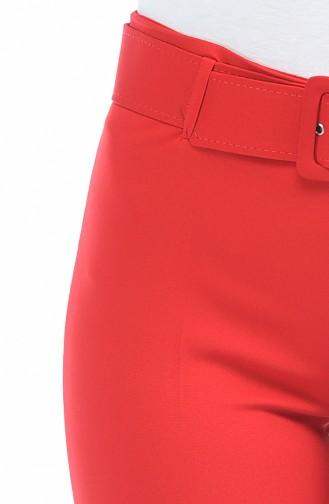 Pantalon a Ceinture Pattes éléphan 1720-01 Rouge 1720-01