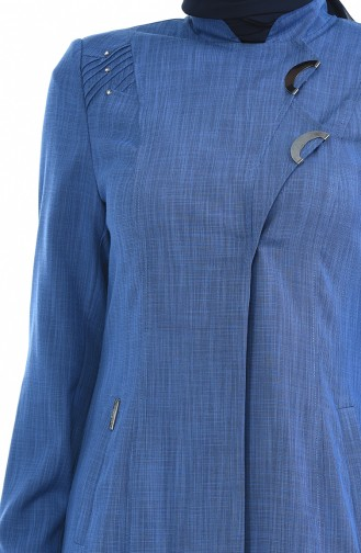 Leinen Hijab Mantel mit Tasche 7260-01 Indigo 7260-01