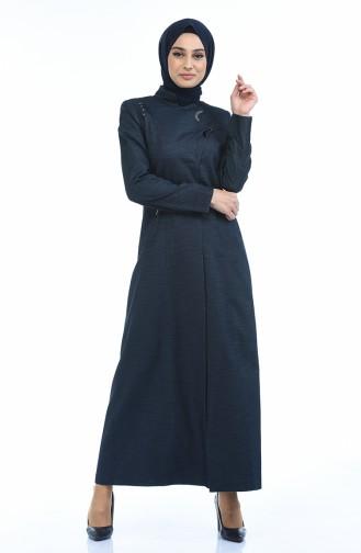 Leinen Hijab Mantel mit Tasche 7260A-01 Dunkelblau 7260A-01