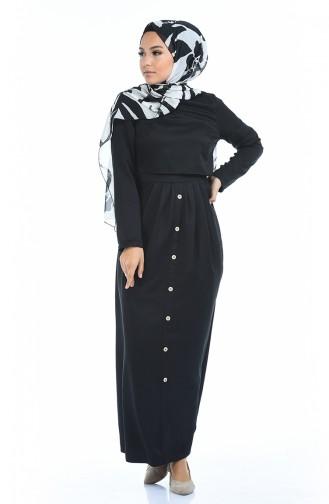 Button Detail Dress 4275-02 Black 4275-02