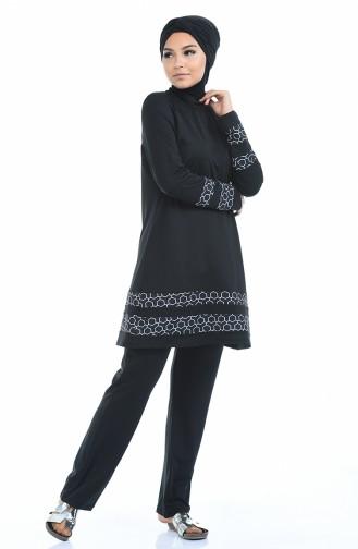 Hijab Badeanzug 1974-01 Schwarz 1974-01
