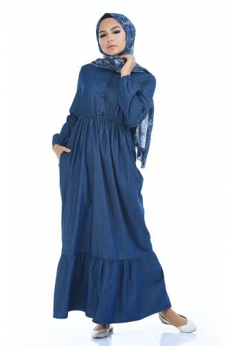 Jeans Kleid mit Gummi 4071-01 Dunkelblau 4071-01
