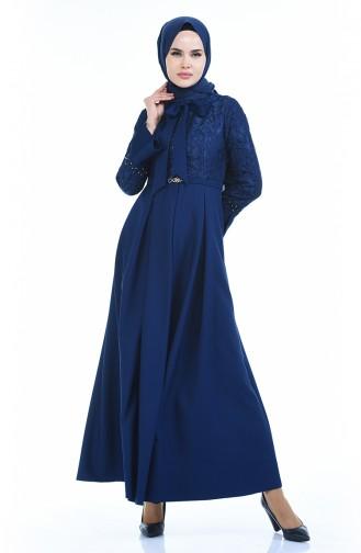 Perlen Kleid mit Spitze  9439-05 Dunkelblau 9439-05