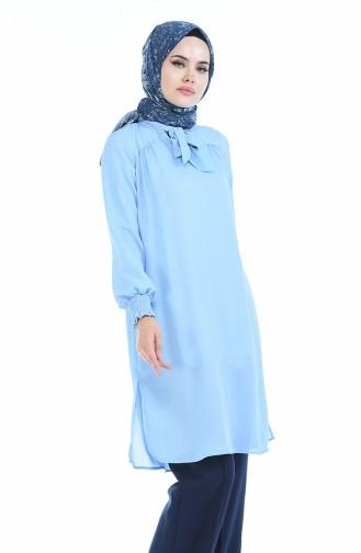 Kravat Yaka Tunik 2091-01 Buz Mavisi