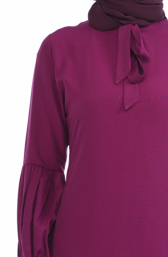 Kravat Yaka Tunik 5018-10 Mürdüm