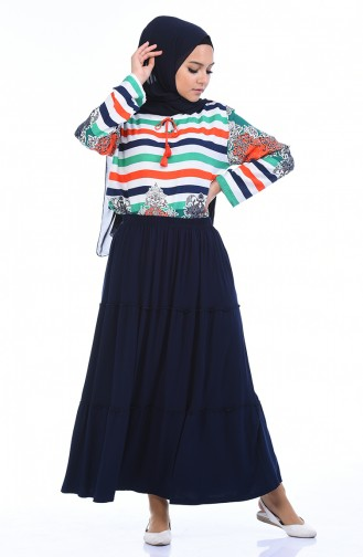 Navy Blue Skirt 7880A-02