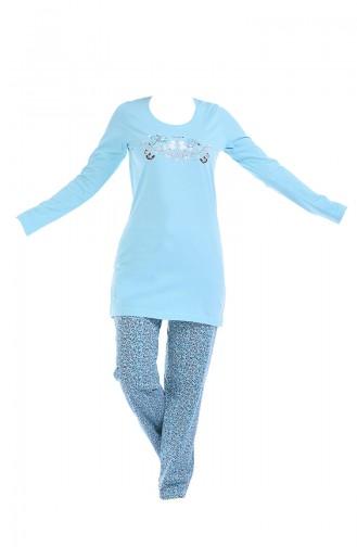 Bayan Uzun Kollu Pijama Takımı 705091-01 Mint Yeşili